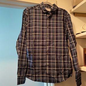 Claiborne Blue Plaid Slim Fit Stretch Shirt